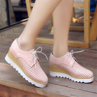 NEW Women's Casual Hollow Out  Wedge High Heel Platform Shoes Lace up Creepers