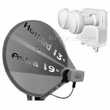 SAT-Anlage HELLGRAU 80cm Astra-Hotbird für 4 Teilnehmer DIGITAL Full HD TV 3D 4K