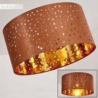 runde Pendel Lampe modern Stoff Hänge Leuchten Schlaf Wohn Ess Zimmer braun//gold