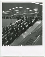 ESCALATORS IN BUSY SUBURBAN BUS PLATFORM VINT PHOTO REPRINT ONLY