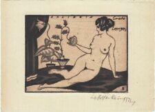 Exlibris Bookplate Radierung Walter Helfenbein 1893-1984 Weiblicher Akt Blumen