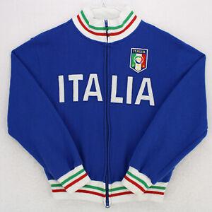 ITALIA FIGC Full Zip Blue Long Sleeve Sweatshirt Warm Up Jacket YOUTH LARGE