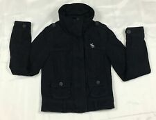 ABERCROMBIE FITCH - BOYS SMALL - DARK BLUE FLANNEL LINED MOOSE LOGO COAT