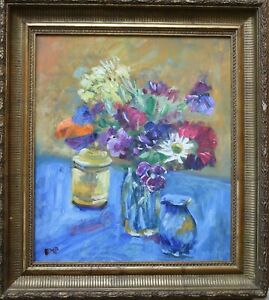 Diana Margaret Perowne- 1934-2020 - Still life with flowers and blue jug
