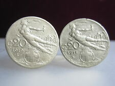 CUFFLINKS VINTAGE ITALIAN NUDE WINGED NIKE GENUINE ITALY 1908 ~ 1922 COIN BOX