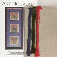Art Nouveau motif cross stitch KIT linen Susan Jones Finger Step Designs