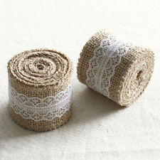 5M Natural Jute Burlap Hessian Ribbon with Lace Trims Tape Rustic Wedding Decor