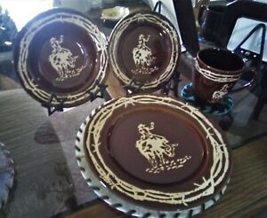 WESTERN DINNERWARE  BULL RIDERE BROWN/TAN 16 PIECE SET DINING HOME OFFFICE RODEO