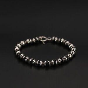 "VTG Sterling Silver - 6mm Black Onyx Bead Chain Link 7.5"" Toggle Bracelet - 17g"