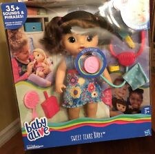 Baby Alive Sweet Tears Baby - Brown Straight Hair- New In Box!