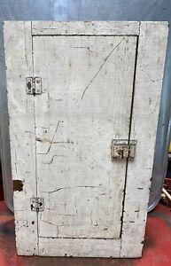 Antique Farmhouse Medicine Cabinet Primitive Wood Paint Patina Shelves Walk Box