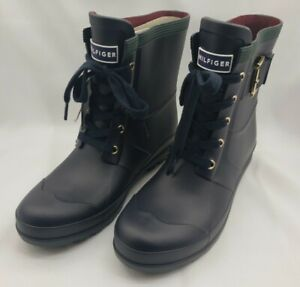 Tommy Hilfiger Rubber Snow Rain Boots Women's Size 9 Black Lace Up NWT
