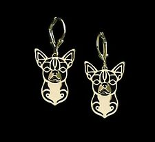 Chihuahua Dog Earrings-Fashion Jewellery Gold Plated, Leverback Hook