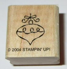 Christmas Ornament Rubber Stamp Bow Stampin' Up! Holidays Retired Wood Mounted