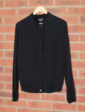 Ghost Black Viscose Blouse Top Chinese Style Collar UK 10 Shell Buttons
