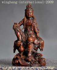 Chinese Old Boxwood wood hand carved freedom Kwan-Yin GuanYin Bodhisattva statue