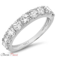 1.50ct pave Promise Bridal Wedding Engagement Band Ring Solid 14kt White Gold