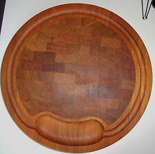 "Vintage 13.5"" Nissen Denmark Teak Wood Slanted Cheese Cutting Serving  Board"