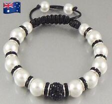 Charm Bracelet - Black and White Pearl Shamballa Style Bangle