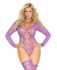 Women Plus Bodysuit Teddy Lingerie Set Purple Sheer Long Sleeve Hexagon Stocking