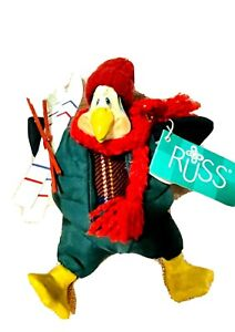 NWT Russ Berrie Christmas Country Folks Igloo Penguin Skier Stuffed Decoration