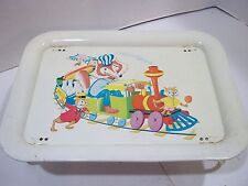 Kids lap lunch tray cartoon animals around 1950's or 60's folding legs old