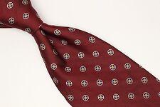 Brooks Brothers Pure Silk Neck Tie Dark Red Herringbone Blue Gold Dot Weave USA