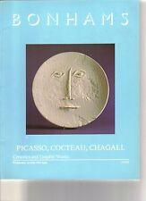RARE - BONHAMS Ceramics Picasso Cocteau Vertes Sutton Auction Catalog 1992
