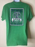 Gildan Heavy Men Size L Green ATM A&M Texas Aggies T Shirt Gig'em Get Lucky