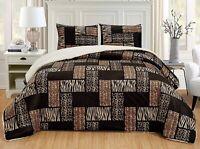 2Pc Twin Dark Brown Black Animal Print Safari Micro Fur Sherpa Comforter Set