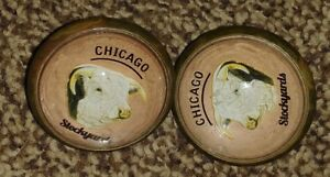 Bridle Rosettes Polled Hereford  chicago stock yards 2 in brass and glass