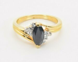 Genuine Sapphire & CZ 14K Yellow Gold Plated Cluster Ring Size 8