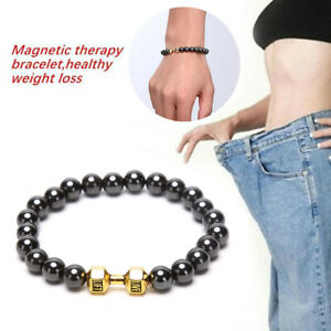 Black Magnetic Bracelet Beads Hematite Stone Therapy Health Care Lose Weight
