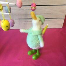 Wool Easter Duck In Green Wellies With Umbrella Figure Gisela Graham Goose