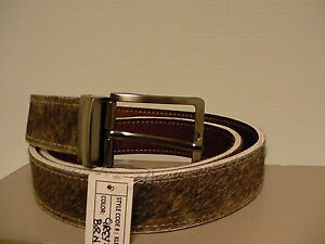 Genuine cowhide hair leather reversible belt grey brown size 42 inch length new