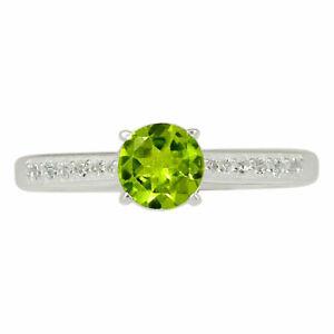Peridot & Cz 925 Sterling Silver Ring Jewelry s.6 BR58277 XGB