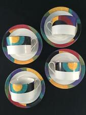 Colorful Set of 4 M5101 Mikasa CURRENTS Coffee / Tea Cups & Saucers - FREE SHIP!