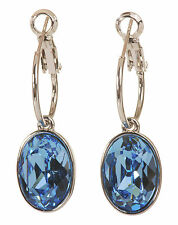 Swarovski Elements Crystal Blue Oval Puzzle Pierced Earrings Rhodium Plated 178y