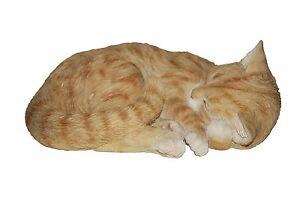 BRAND NEW SLEEPING GINGER CAT GARDEN ORNAMENT