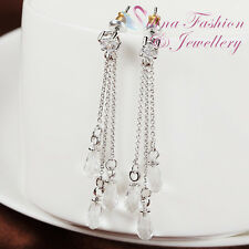18K White Gold Plated Made With Swarovski Crystal Triple China Teardrop Earrings