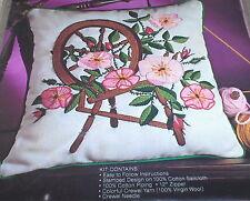 """""""Spinning Wheel & Wild Roses"""" Crewel Pillow Kit NIP 14"""""""