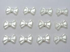 200 Pure White Acrylic Half Pearl Bows Tie Flatback Beads 12mm Scrapbook Craft