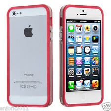 Apple iPhone 5 TPU HYBRID BUMPER w/ METAL BUTTONS ACCESSORY CLEAR HOT PINK