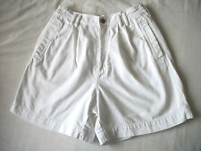 WMNS 8 WHITE PLEATED JEAN SHORTS W/ ELASTIC SIDES by CHAUS