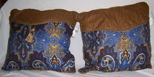 New 2 Decorative Square Pillows Two Tone Envelope Style Blue Brown Gold Soft!