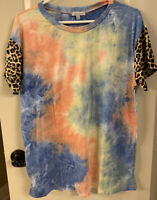 New White Birch Boutique Top Large Tie Dye Leopard Print Sleeves
