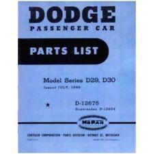 Factory MoPar Parts Manual for 1949 Dodge D29 - D30