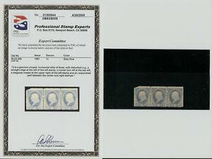 1881 US Stamp Scott 206 1cent  3 Strip. GRAY BLUE. UNUSED. PSE
