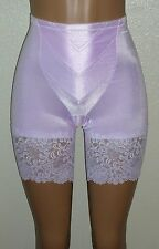 J NEW Pale Pink Satin Long Leg Panty Girdle Wide Lace Med-Firm Control 32W XL