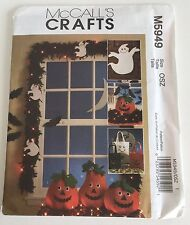 McCalls Crafts Pattern 5949 Halloween Ghosts Bats Pumpkins Bags New Uncut Fun